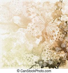 (, set), 1, pillangók, beige háttér, menstruáció, orhideák