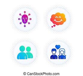 set., arc, szeret, csevegés, mosoly, arcápolás, komikus, elismerés, használók, emberek., ikonok, biometria, vektor, párosít, cégtábla.