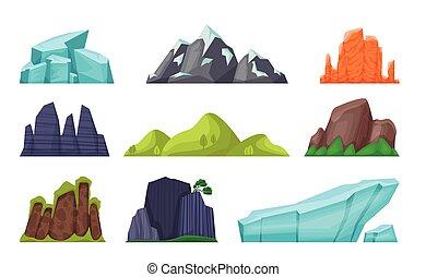 set., dezertál, karikatúra, gleccser, természet, hegy csúcs, havas, táj, dombok, kis öblök, sziklás, vektor, cliffs., elem