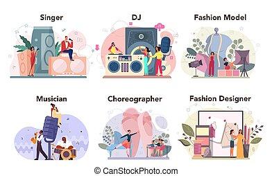 set., dj, táncos, mód, kreatív, munka, foglalkozás, tervező