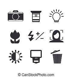 set., fényképezőgép, ikon