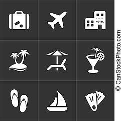 set., ikonok, utazás, szünidő, cégtábla