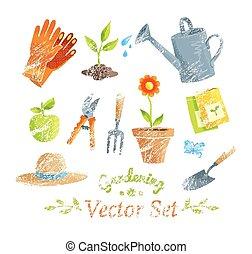 set., kert felszerelés, vektor