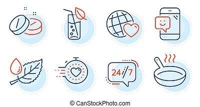 set., sütés, barátok, tabletta, lábas, signs., ikonok, harmat, levél növényen, 24/7, szolgáltatás, világ, orvosi, időzítő, vektor