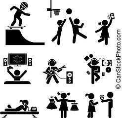 set., vektor, ico, gyermekkor, pictogram