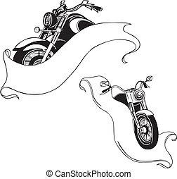 set., vektor, motorbiciklik, ribbons.