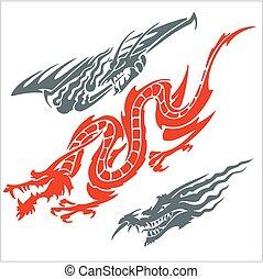 set., vektor, tattoo., sárkányok