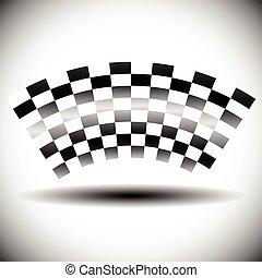 shadow., elvont, checkered lobogó, fehér