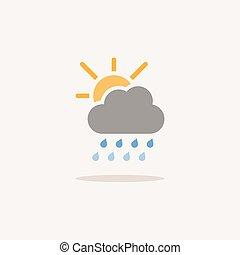 shadow., felhő, időjárás elpirul, vektor, ikon, ábra, sun., esőcseppek, nehéz