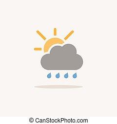 shadow., felhő, időjárás elpirul, vektor, ikon, ábra, sun., esőcseppek