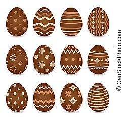 shadows, állhatatos, ikra, elszigetelt, csokoládé, háttér, választékos, fehér, húsvét