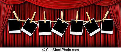 shadows, elfüggönyöz, színház csillogó, megszőtt, polaroids, tiszta, piros, fokozat