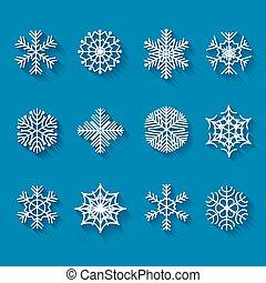 shadows., háttér, elszigetelt, kék, hosszú, ikonok, lakás, snowflakes.