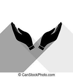 shadows, lakás, illustration., szürke, jelkép., kéz, háttér., fekete, két, vector., könyörgés, fehér, ikon