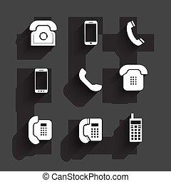 shadows, lakás, tervezés, telefon, ikonok