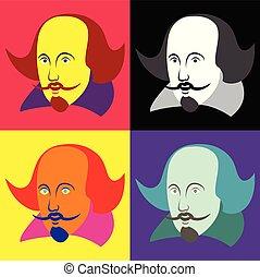 shakespeare, ábra, vilmos, vektor