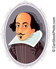 shakespeare william, karikatúra, vektor