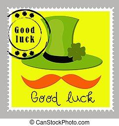 shamrock., topog, poster., jó, stickers., alapismeretek, kalap, letters., -e, kéz, boldog, nap, sör, fesztivál, húzott, rétegfelhő, stamps., tervezés, vektor, zöld, postaköltség, luck., patrick's, felirat, lóhere, írország