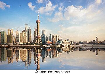 shanghai, láthatár, szürkület