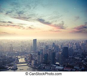 shanghai, szürkület