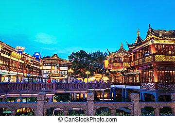 shanghai, yuyuan, szürkület