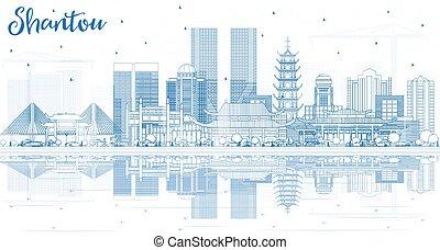 shantou, reflections., épületek, láthatár, város, áttekintés, kína, kék