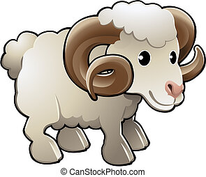 sheep, ábra, csinos, vektor, megművel állat, döngöl