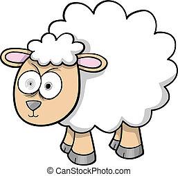 sheep, bárány, bolond, vektor