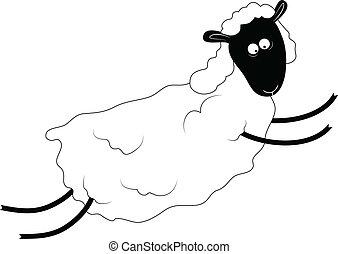 sheep, bárány, vektor, ábra, ugrás, bájos, vagy