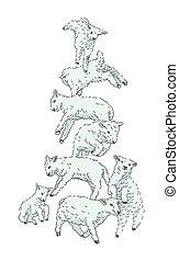 sheep, csinos, tanya, ábra, set., vektor, animals., ugrás