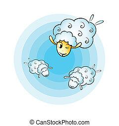 sheep, felhő