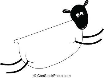 sheep, furcsa, ábra, vektor, bárány, vagy, ugrás