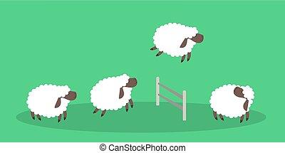 sheep, green., ugrás