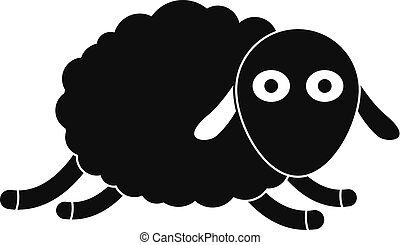 sheep, ikon, mód, ugrás, egyszerű