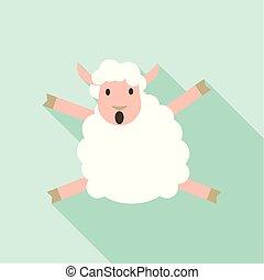 sheep, ikon, mód, ugrás, lakás