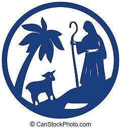 sheep, pásztor, biblia, árnykép, jámbor, kék, színhely, ábra, háttér., vektor, fehér, ikon
