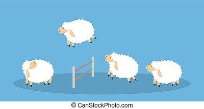sheep, ugrás, blue.