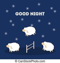 sheep, ugrás, night.