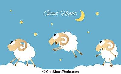 sheep, ugrás, vektor, három, ábra