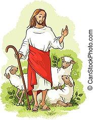 shepherd., téma, húsvét, jézus