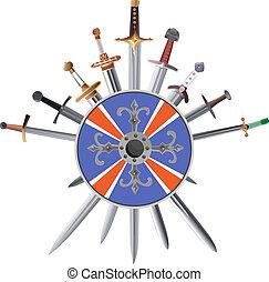 shields., crosswise, kard, kereszt