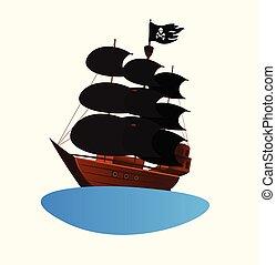 ship., meghívás, gyermekek buli, jel, kalóz
