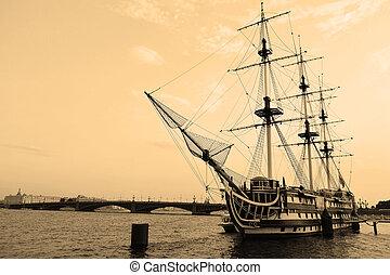 ship., sepia., vitorlázás