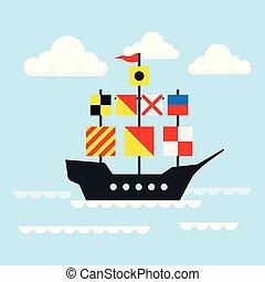 ship., vektor, vitorlázás, ábra