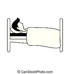 sideview, ember, karikatúra, ágy, alvás