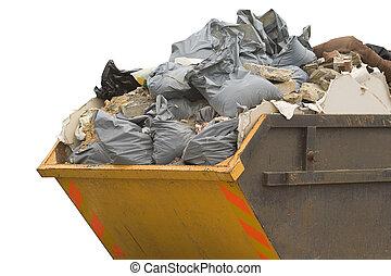 sideview, fosztogat, szökdécsel, -, elszigetelt, refuse/trash