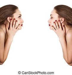 sideview, nő, szépség, collage., fényes, körömápolás, portré, piros