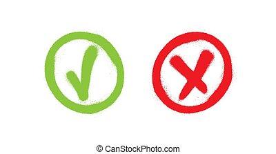 signs., ketyegés, button., elhajít, jóváhagyott, cross., choice., vektor, falfirkálás, piros zöld, szavazás, ellenőriz, marks., test.