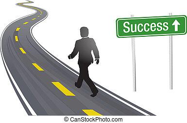 siker, ügy cégtábla, jár, út, ember