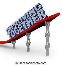 siker, együtt, emelések, növekedés, nyíl, befog, javuló